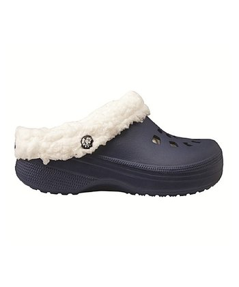 Midnight & White Fleece Clog - Women