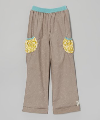 Gray Paisley Pocket Pants - Girls
