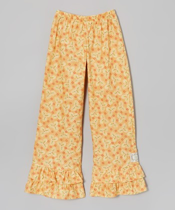 Apricot Floral Double Ruffle Pants - Infant, Toddler & Girls