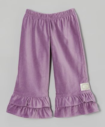 Lilac Velvet Double Ruffle Pants - Girls