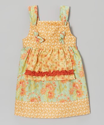 Apricot Floral Apron Dress - Infant, Toddler & Girls