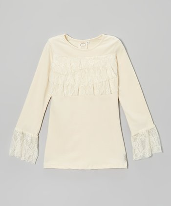 Antique Cream Lace Ruffle Top - Girls