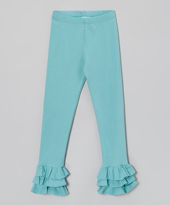 Dusty Turquoise Triple Ruffle Leggings - Infant, Toddler & Girls