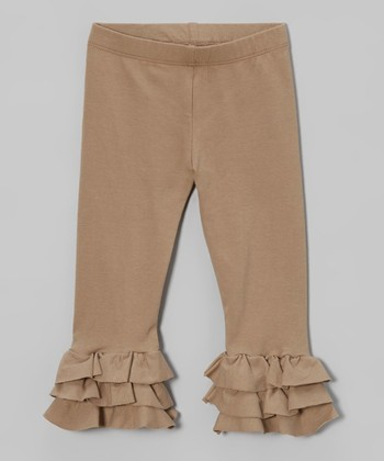 Brindle Brown Triple Ruffle Leggings - Toddler & Girls