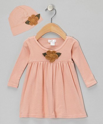 Blush Crocheted Flower Dress & Beanie