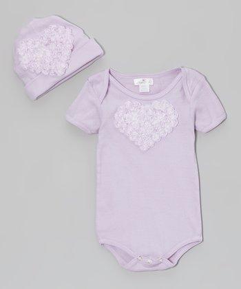 Tesa Babe Violet Ruffle Flower Bodysuit & Beanie