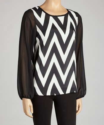 Black Zigzag Semi-Sheer Top