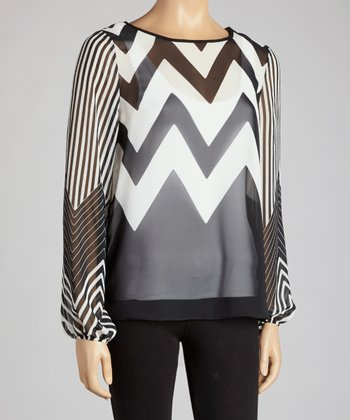 Black & White Zigzag Semi-Sheer Top