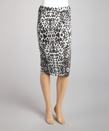 Gray Leopard Pencil Skirt