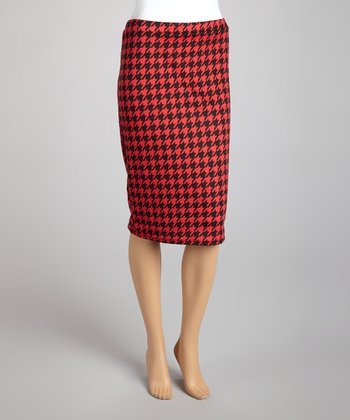 Red Houndstooth Pencil Skirt