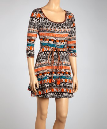 Orange & Blue Geometric Tie-Waist Dress