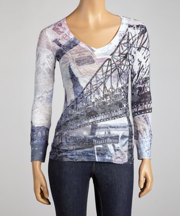 White City Bridge Burnout V-Neck Top