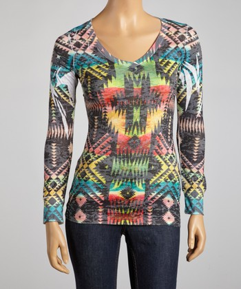 Red & Yellow Tribal V-Neck Top
