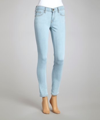 Light Wash Slim Fit-Leg Jeans