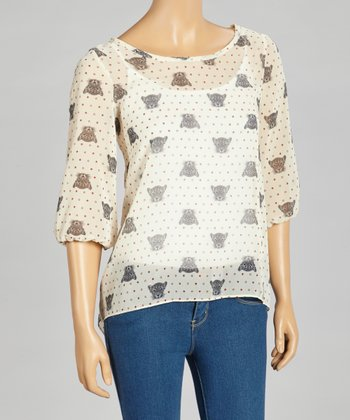 Ivory Lion Dot Sheer Top