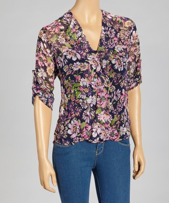 Navy & Purple Floral Tab Sleeve Top