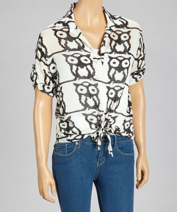Ivory & Black Owl Tie-Waist Top