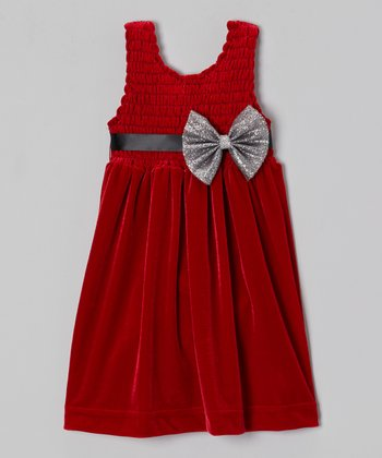 Red Chloe Velour Babydoll Dress - Toddler & Girls