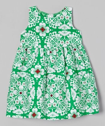 Green & White Floral Eden Dress - Toddler & Girls