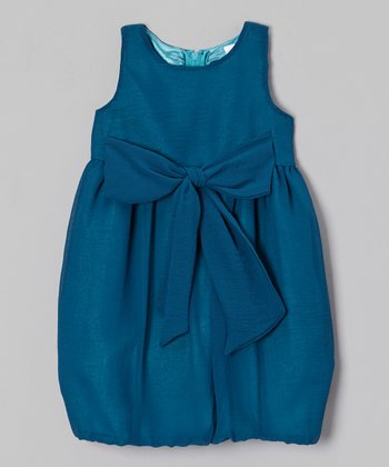 Teal Bow Rachel Bubble Dress - Toddler & Girls