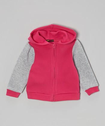 Fuchsia & Gray Raglan Zip-Up Hoodie - Infant, Toddler & Girls