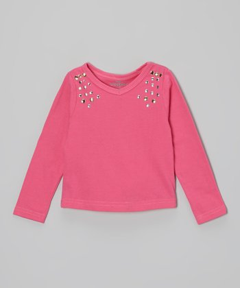 Fuchsia Studded V-Neck Tee - Infant, Toddler & Girls