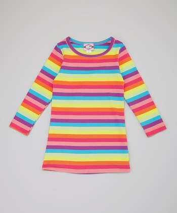Pink & Purple Stripe Long-Sleeve Dress - Toddler & Girls