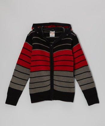 Black & Red Stripe Zip-Up Hoodie - Toddler & Boys
