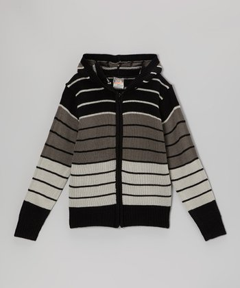 Black & Gray Stripe Zip-Up Hoodie - Toddler & Boys