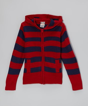 Red & Navy Stripe Zip-Up Hoodie - Boys