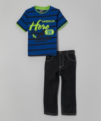 Blue Stripe 'American Hero' Tee & Jeans - Infant, Toddler & Boys