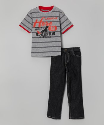 Gray Stripe 'American Hero' Tee & Jeans - Infant, Toddler & Boys