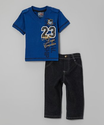 Blue V-Neck Tee & Jeans - Infant