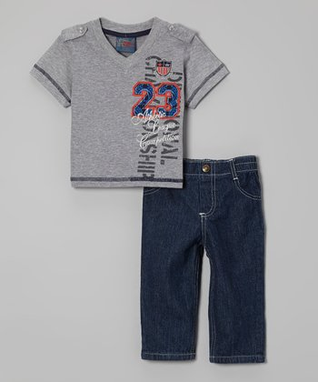 Gray V-Neck Tee & Jeans - Infant