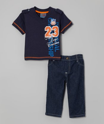 Navy V-Neck Tee & Jeans - Infant
