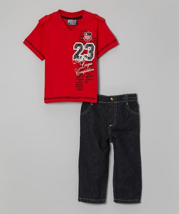 Red V-Neck Tee & Jeans - Infant