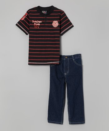 Black Stripe Henley Tee & Jeans - Infant, Toddler & Boys