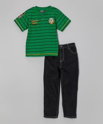 Green Stripe Henley Tee & Jeans - Infant, Toddler & Boys