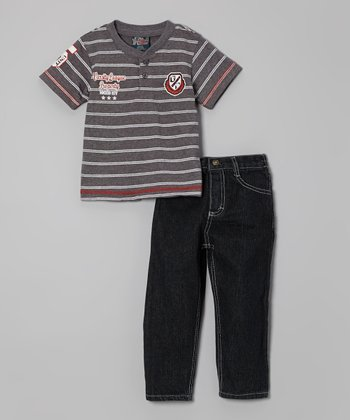 Gray Stripe Henley & Jeans - Infant, Toddler & Boys