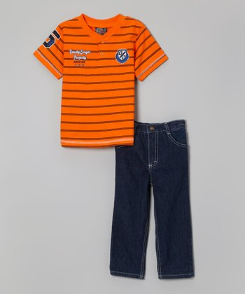 Orange Stripe Henley & Jeans - Infant, Toddler & Boys