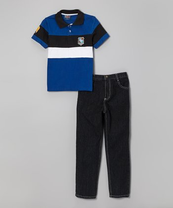 Blue Color Block Polo & Jeans - Infant, Toddler & Boys