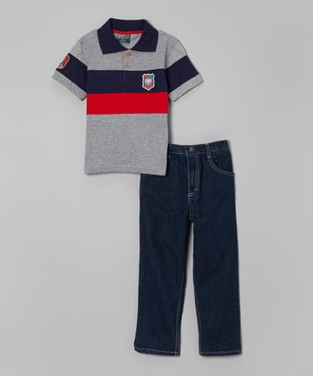 Gray Color Block Polo & Jeans - Infant, Toddler & Boys