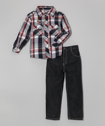 Navy & Red Plaid Button-Up & Jeans - Boys