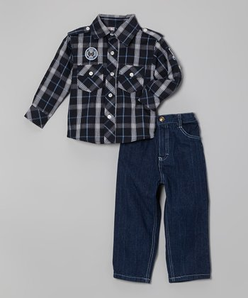 Black & Tan Plaid Button-Up & Jeans - Infant, Toddler & Boys