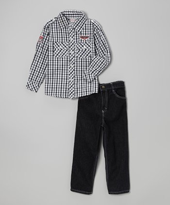 Black & Gray Plaid Button-Up & Jeans - Infant, Toddler & Boys