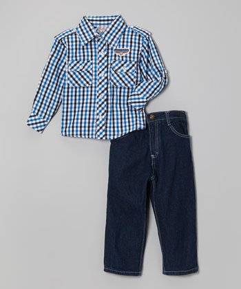 Black & Blue Plaid Button-Up & Jeans - Infant, Toddler & Boys