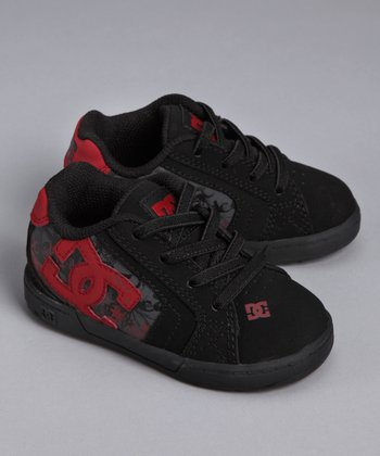 Black & Red Net Sneaker - Toddler