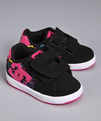 Black & Crazy Pink Net V Sneaker - Toddler