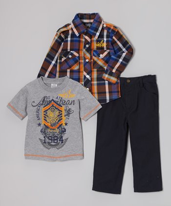 Blue Plaid Button-Up Set - Infant, Toddler & Boys