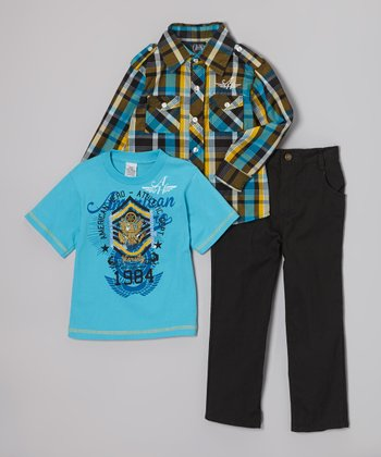 Brown Plaid Button-Up Set - Infant, Toddler & Boys